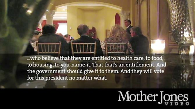 "FILE- In this file video framegrab from a May 17, 2012 video provided by Mother Jones Video, Republican presidential candidate Mitt Romney speaks at a $50,000-a-plate fundraiser at a Florida fundraiser.   David Corn, he reporter for Mother Jones magazine who broke the story of Republican presidential candidate Mitt Romney's remarks that 47 percent of Americans ""believe they are victims"" is among the winners of the 64th annual George Polk Awards in Journalism.   (AP Photo/Mother Jones Video)"