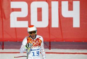 Bode Miller of the U.S. skis during the third training session for the men's alpine skiing downhill event at the 2014 Sochi Winter Olympics at Rosa Khutor Alpine Center
