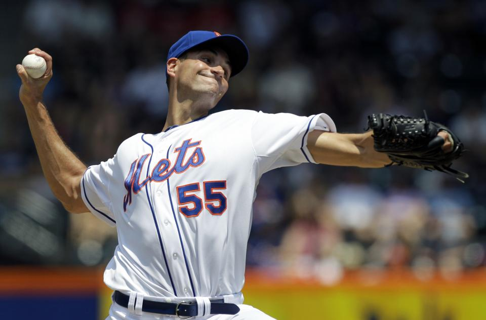 New York Mets starting pitcher Chris Young delivers against the Philadelphia Phillies during in the second inning of their baseball game at Citi Field in New York, Wednesday, July 4, 2012. (AP Photo/Kathy Willens)