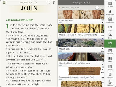 Inside viewing of NIV Zondervan Study Bible iOS App