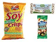 Soy crisps, gnu bar, blue diamond almonds
