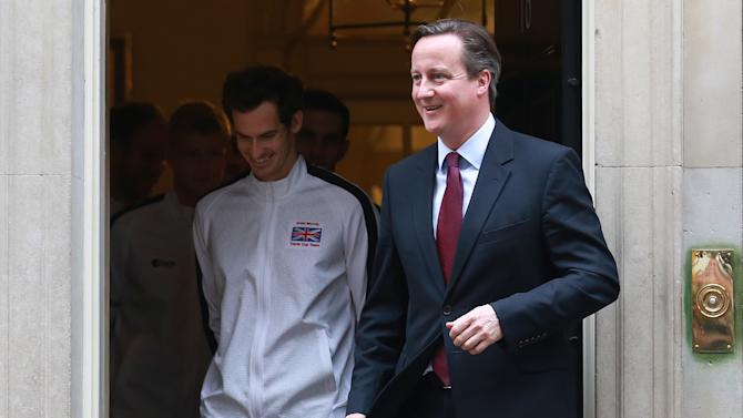 Prime Minister David Cameron with Great Britain's Andy Murray and members of the Davis Cup Team