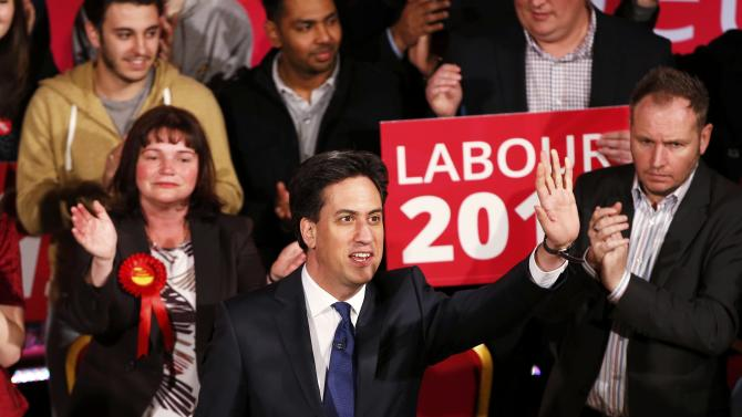 Britain's opposition Labour Party leader Ed Miliband waves at a campaign event  in Colne, northern England