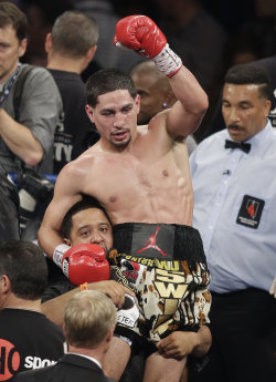 Danny Garcia reacts after defeating Lucas Matthysse in September. (AP)