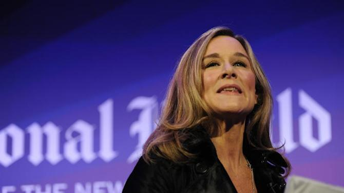 Burberry CEO Angela Ahrendts leads a discussion at the IHT Heritage Luxury conference in London