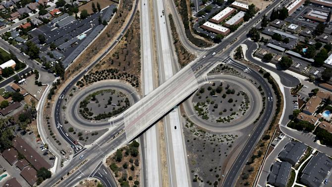 Freeway intersection is seen in Fresno