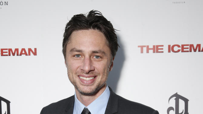 "FILE - This April 22, 2013 file photo provided by Millennium shows actor Zach Braff at the DeLeon Tequila special screening of ""The Iceman"" at the Arclight in Los Angeles. Braff will make his Broadway debut next year in a musical adaptation of Woody Allen's crime caper ""Bullets Over Broadway."" Written by Allen and Douglas McGrath, the story follows a struggling young playwright who is forced to cast a mobster's talentless girlfriend in his latest drama. (AP Photo/ Millennium, Todd Williamson, File)"