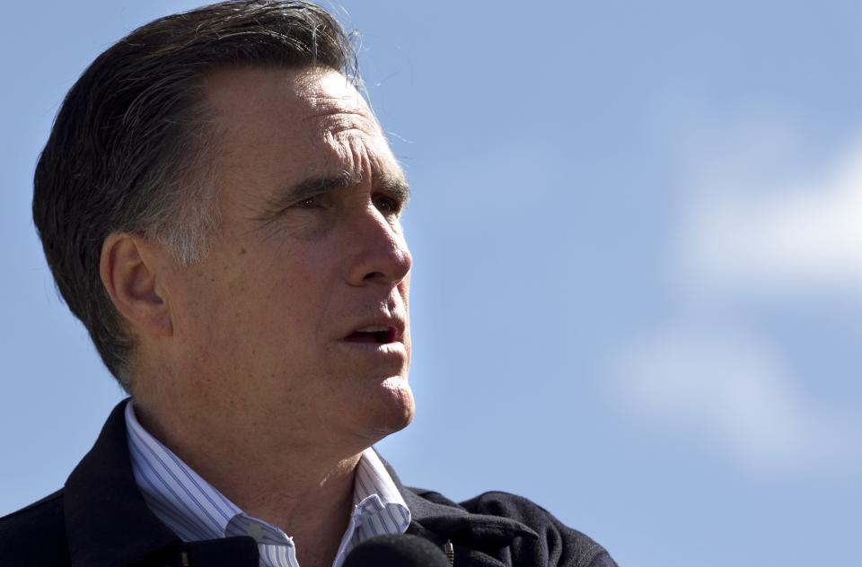 Republican presidential candidate, former Massachusetts Gov. Mitt Romney  speaks in Tunkhannock, Pa.., Thursday, April 5, 2012. (AP Photo/Steven Senne)