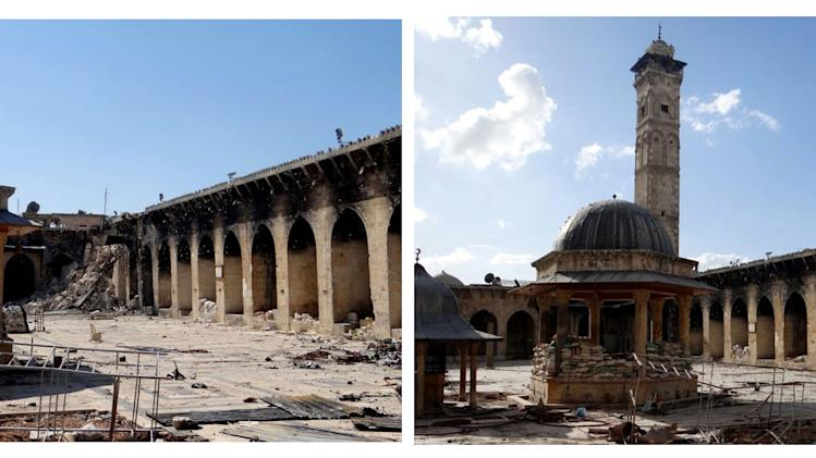 COMBO - This combination of two citizen journalist images provided by Aleppo Media Center AMC which has been authenticated based on its contents and other AP reporting, shows at left: the damaged famed 12th century Umayyad mosque without the minaret, background right corner, which was destroyed by the shelling, in the northern city of Aleppo, Syria, Wednesday April 24, 2013; and at right, a March 6, 2013 view of the mosque with is minaret still intact. he minaret of a famed 12th century Sunni mosque in the northern Syrian city of Aleppo was destroyed Wednesday, April 24, 2013. President Bashar Assad's regime and anti-government activists traded blame for the attack against the Umayyad mosque, which occurred in the heart Aleppo's walled Old City, a UNESCO World Heritage site.(AP Photo/Aleppo Media Center, AMC)