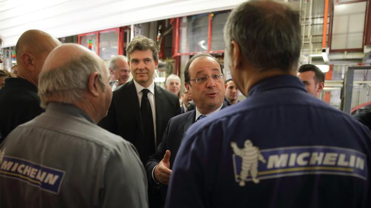 French President Hollande visits Michelin factory with French Economy Minister Montebourg in La Doux