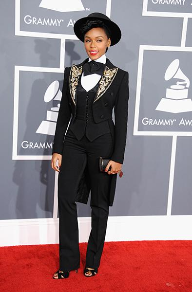 BEST: Janelle Monae wearing a Moschino jacket We learned why Janelle always wears a tuxedo when we interviewed her the day before the Grammys. (It's a really sweet reason!) Knowing she wouldn't veer T