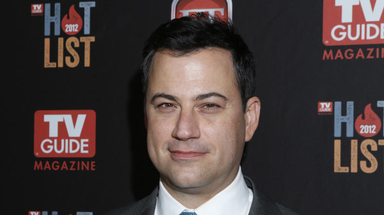 FILE - This Nov. 12, 2012 file photo shows Jimmy Kimmel at the TV Guide Magazine's 2012 Hot List Party at Skybar at the Mondrian Hotel  in West Hollywood, Calif. Kimmel is moving to the heart of late-night on Tuesday, Jan. 8, 2013 to face Jay Leno and David Letterman.   (Photo by Todd Williamson/Invision/AP, file)