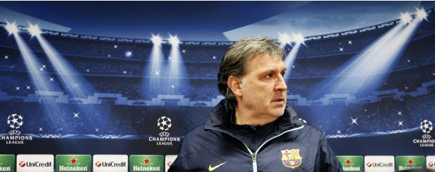 Barcelona's coach Gerardo Tata Martino attends a news conference in Barcelona