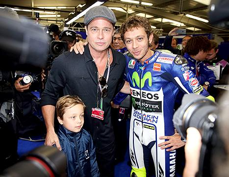 Brad Pitt Bonds With Son Knox, 7, at MotoGP British Grand Prix: Pictures