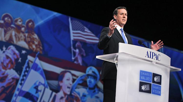Republican presidential candidate, former Pennsylvania Sen. Rick Santorum speaks befoe the American Israel Public Affairs Committee (AIPAC), in Washington, Tuesday, March 6, 2012. (AP Photo/Charles Dharapak)