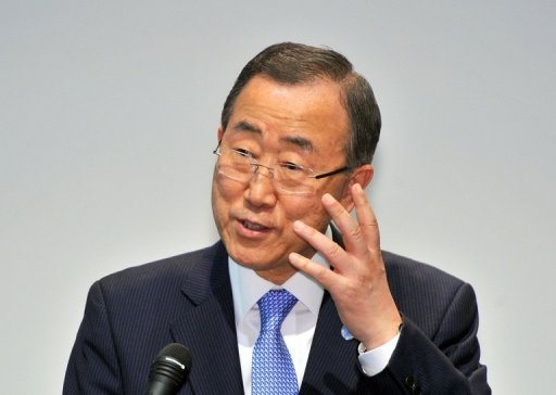UN chief Ban Ki-moon, pictured in August 2012, Wednesday sharply criticized tough jail terms imposed on 13 leading Bahraini opposition figures, calling on the country&#39;s leaders to ensure the right to a fair trial