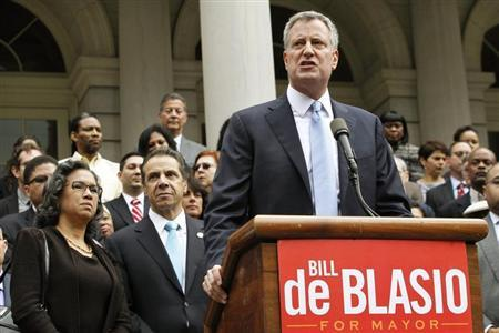 New York City Democratic mayoral nominee Bill de Blasio speaks in front of City Hall in New York