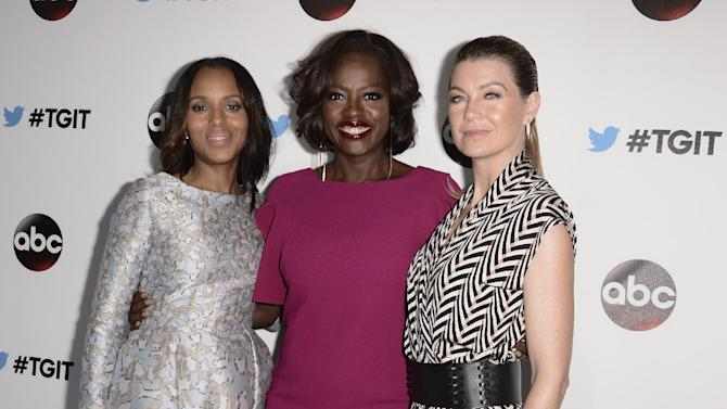 From left to right, actress Kerry Washington, actress Viola Davis, and actress Ellen Pompeo attend the ABC TGIT Premiere at Palihouse on Saturday, Sept 20, 2014 in West Hollywood, Calif. (Photo by Dan Steinberg/Invision/AP Images)