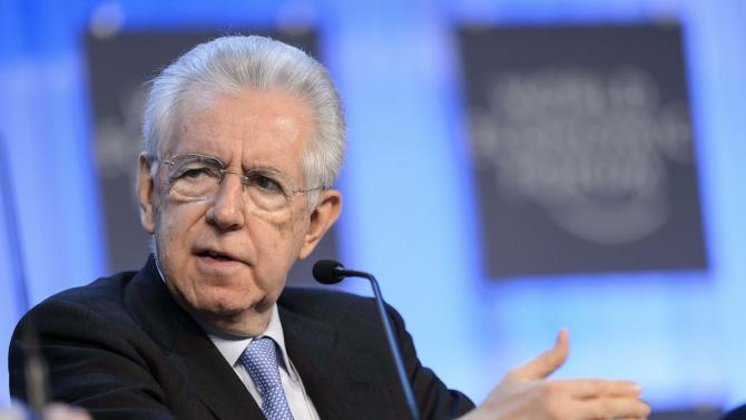 Italian Prime Minister Mario Monti speaks during a panel session of the 43rd Annual Meeting of the World Economic Forum, WEF, in Davos, Switzerland, Thursday, Jan. 24, 2013. (AP Photo/Keystone/Laurent Gillieron)