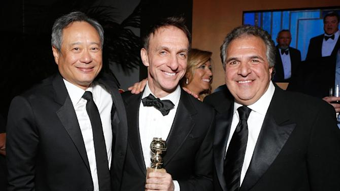 IMAGE DISTRIBUTED FOR FOX SEARCHLIGHT - From left, director Ang Lee, Co-Chairman and CEO, Fox Filmed Entertainment Jim Gianopolous and composer Mychael Danna attend the Fox Golden Globes Party on Sunday, January 13, 2013, in Beverly Hills, Calif. (Photo by Todd Williamson/Invision for Fox Searchlight/AP Images)