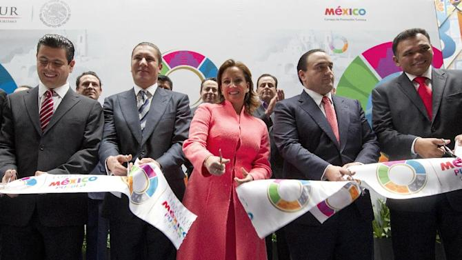 IMAGE DISTRIBUTED FOR MEXICO TOURISM - Mexico´s Secretary of Tourism Claudia Ruiz Massieu opens Tianguis Turistico 2013 in Puebla, Mexico on Monday, March 18, 2013. (Christian Palma/AP Images for Mexico Tourism)