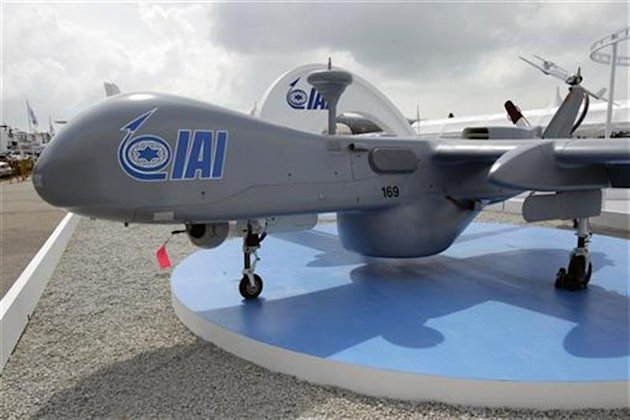 IAI Heron UAV aircraft is pictured at the Singapore Airshow