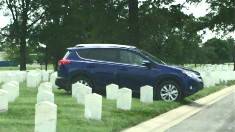 Facebook Post Shows Cars Parked on Veterans` Grave Sites