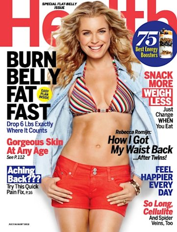Rebecca Romijn on the cover of Health magazine (July/Aug 2012) -- Health Magazine