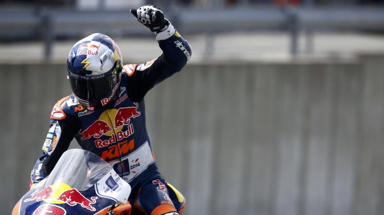 KTM Moto3 rider Miller of Australia celebrates after he won the Moto3 race during the German Grand Prix at the Sachsenring circuit in the eastern German town of Hohenstein-Ernstthal