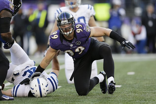 FILE - In this jan. 6, 2013, file photo, Baltimore Ravens outside linebacker Paul Kruger (99) looks up after sacking Indianapolis Colts quarterback Andrew Luck during the second half of an NFL wild ca