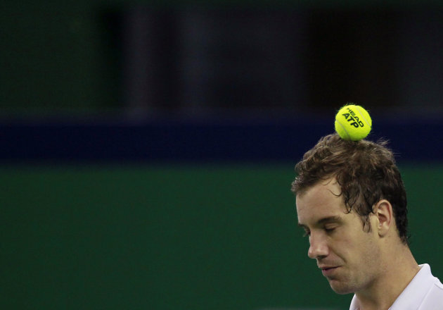France's Richard Gasquet reacts after missing a point during his single's tennis match against Radek Stepanek of Czech Republic at the Shanghai Masters tournament in Shanghai