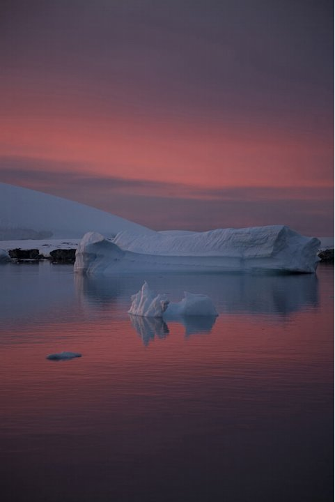 Sunset over Antarctic Peninsula landscape with icebergs. Haunt of killer whales. Frozen Planet