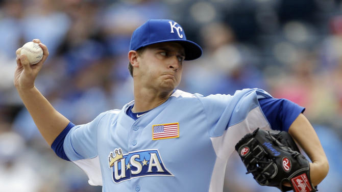 United States starting pitcher Jake Odorizzi delivers during the first inning of the MLB All-Star Futures baseball game against the World, Sunday, July 8, 2012, in Kansas City, Mo. (AP Photo/Jeff Roberson)