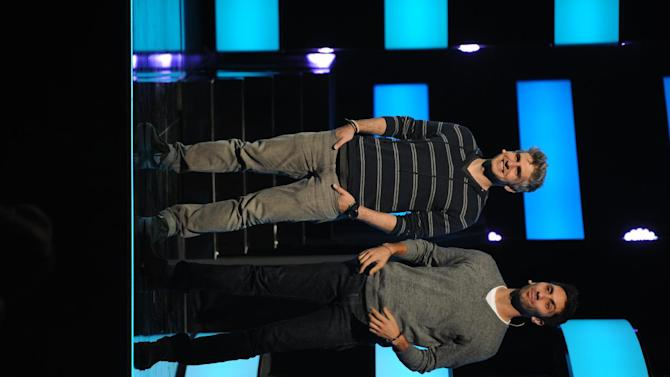 "From left, Max Joseph and Nev Schulman from ""Catfish: The TV Show""  seen at the 2013 MTV Upfront, on Thursday, April 25, 2013 at the Beacon Theater in New York. (Photo by Scott Gries/Invision/AP Images)"