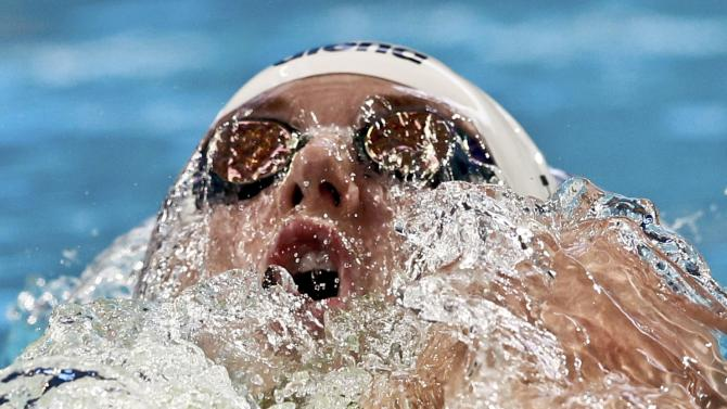 Hosszu of Hungary swims during the women's 100m backstroke heats at the Aquatics World Championships in Kazan