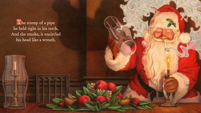 "This illustration released by Applesauce Press shows an image of Santa Claus smoking a pipe from the book, ""The Night Before Christmas,"" illustrated by Charles Santore. A new book version of ""Twas the Night Before Christmas""  has been released that eliminates all references to a smoking Santa. Santore's version keeps the traditional lines from the 189-year-old holiday poem by Clement C. Moore. (AP Photo/Applesauce Press)"