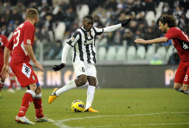 Juventus' Pogba scores against Siena during their Italian Serie A soccer match at the Juventus stadium in Turin