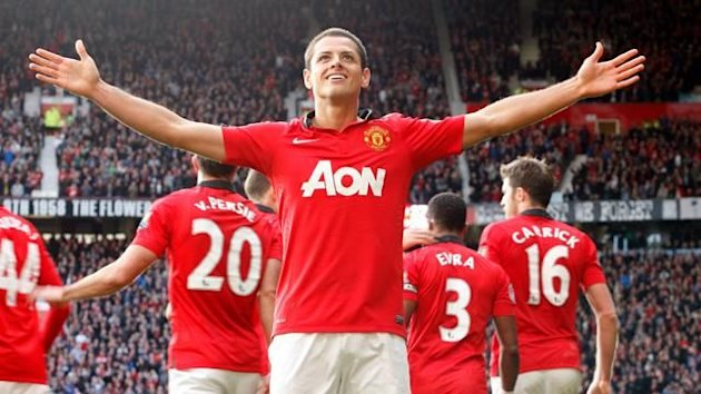 Javier Hernandez celebrates scoring the winning goal for Manchester United against Stoke (PA Photos)