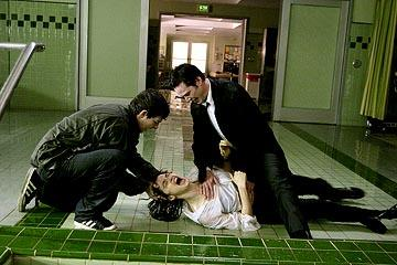 Shia LaBeouf , Keanu Reeves and Rachel Weisz in Warner Bros. Constantine