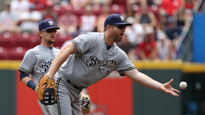 Milwaukee Brewers first baseman Adam Lind, right, tosses the ball to first base for a force out against Cincinnati Reds' Joey Votto during the first inning of a baseball game Sunday, July 5, 2015, in Cincinnati. (AP Photo/Gary Landers)