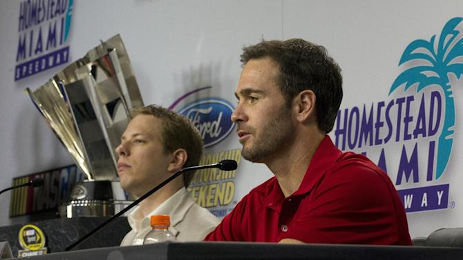 NASCAR Sprint Cup Series drivers, Brad Keselowski, left, and Jimmie Johnson, talk to the media during a news conference in Homestead, Fla., Thursday, Nov. 15, 2012. (AP Photo/J Pat Carter)