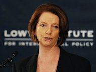Australian Prime Minister Julia Gillard speaks during the release of the government&#39;s White Paper on &#39;Australia in the Asian Century&#39; at the Lowy Institute in Sydney on October 28. The ambitious plan, aimed at maximising links with booming China and other soaring Asian economies, will power Australia into the world&#39;s top 10 wealthiest nations by 2025, the government says