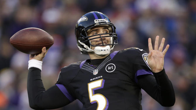 FILE - In this Dec. 23, 2012, file photo, Baltimore Ravens quarterback Joe Flacco throws to a receiver in the first half of an NFL football game against the New York Giants in Baltimore. Flacco agreed to a six-year, $120.6 million deal Friday, March 1, 2013, after leading the Ravens to the Super Bowl title. (AP Photo/Evan Vucci, File)