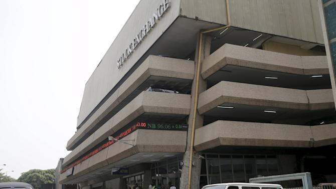 An exterior view shows the Nigerian Stock Exchange building in Lagos