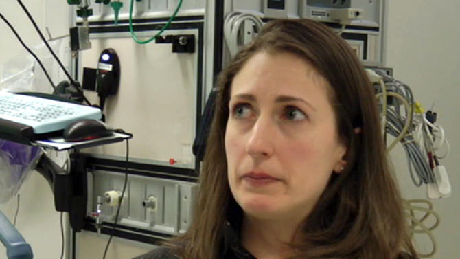 In this frame grab from Saturday, April 20, 2013, video, Massachusetts General Hospital nurse Maria Vareschi talks about the horrific early hours as bloody patients poured in after the explosions at the Boston Marathon. (AP Photo/Carla K. Johnson)