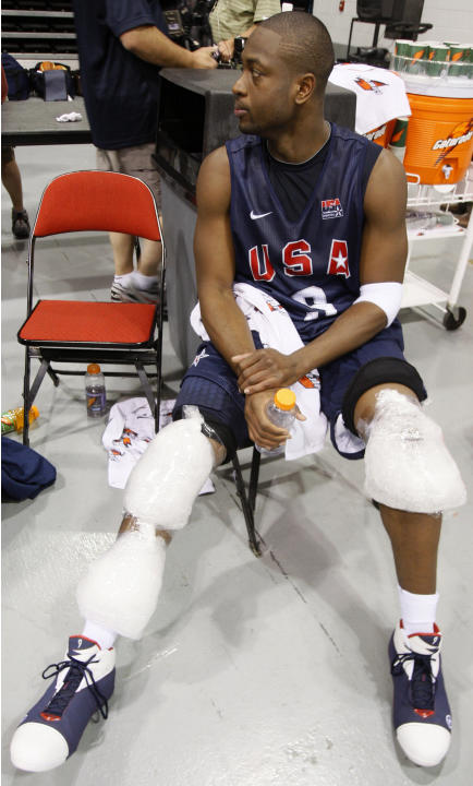Wade nurses his knee injury after U.S. men's basketball team training for Beijing Olympics, in Las Vegas