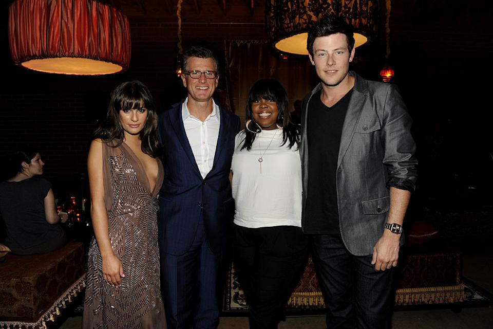 "Lea Michele, Amber Riley, and Cory Monteith of ""Glee"" with Kevin Reilly (President of Entertainment, Fox) at the 2011 Fox Fall Eco-Casino Party at The BookBindery on September 12, 2011 in Culver City, California."