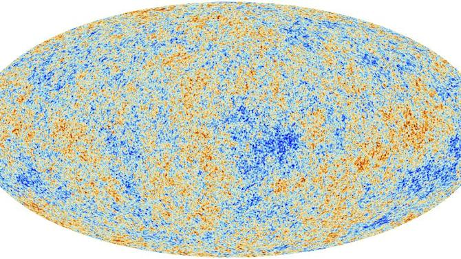 This image released on Thursday March 21, 2013 released by the European Space Agency (ESA) shows the most detailed map ever created of the cosmic microwave background acquired by ESA's Planck space telescope. George Esfthathiou, an astrophysicist who announced the Planck satellite mapping on Thursday, says the findings also offer new specificity of the universe's composition. (AP Photo/ESA­Planck Collaboration)