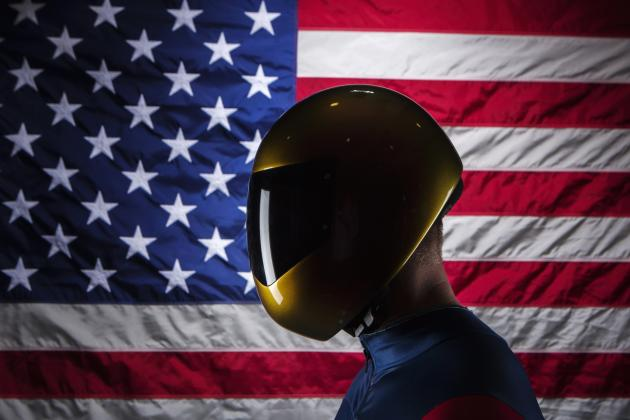 Olympic skeleton racer Daly poses for a portrait during the 2013 U.S. Olympic Team Media Summit in Park City, Utah