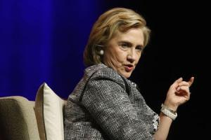 Clinton answers a question as she discusses her new book at George Washington University in Washington
